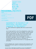 Indemnity & Insurance in Respect of Personal Injuries