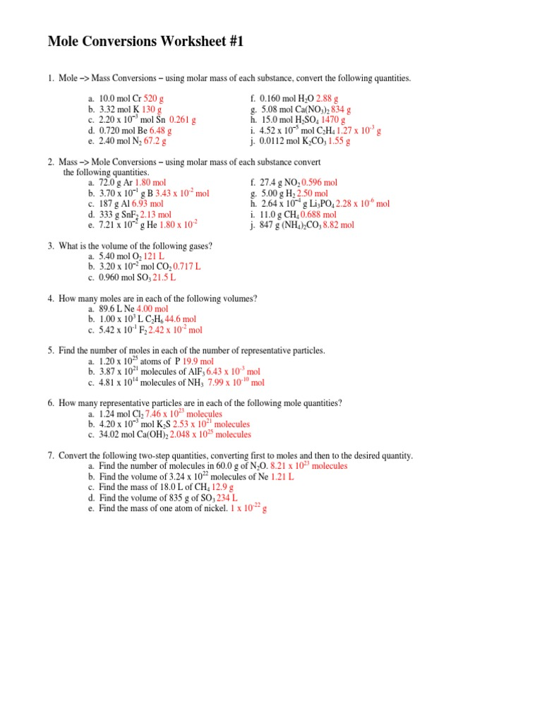 Worksheet - Mole-Particle Conversions - Teacher - Teacher Notes ...