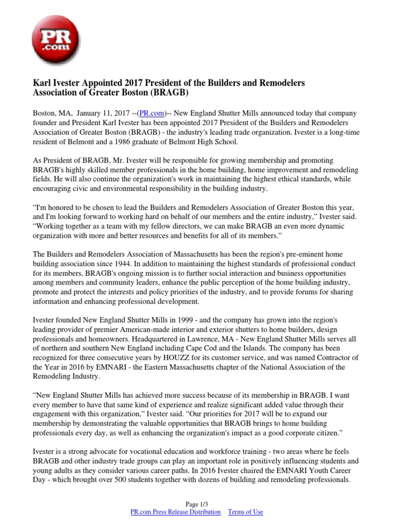 Karl Ivester Appointed President Of The Builders And - Home remodelers association