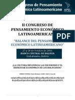 Influencia de La Cultura en Las Decisiones Economicas de Los Bolivianos