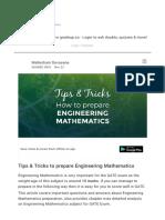 Tips & Tricks to Prepare Engineering Mathemati