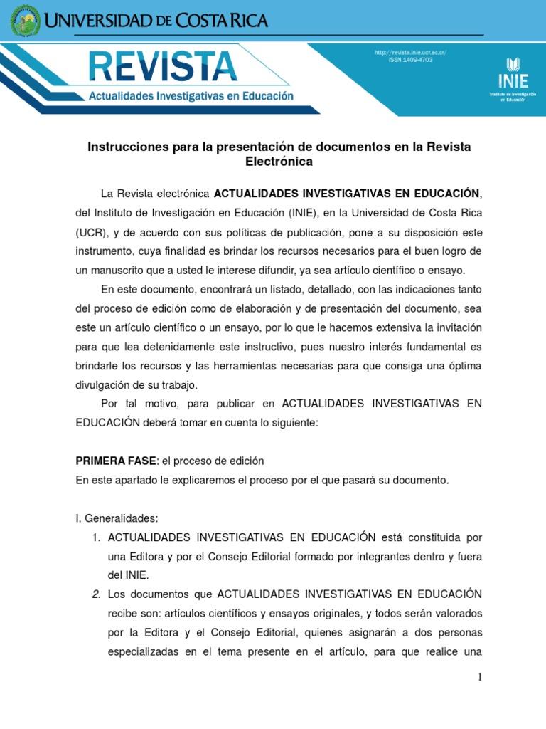 Instrucciones Para La Presentación de Documentos en La Revista ...