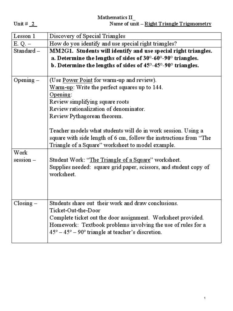 Worksheet Special Right Triangles 45 45 90 Worksheet Worksheet Fun