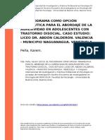 Pena, Karem (2013). El Psicodrama Como Opcion Terapeutica Para El Abordaje de La Agresividad en Adolescentes Con Trastorno Disocial. Caso (..)