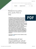 Relazione Tra Pollici, Pica, Punti, Pitch e Twip