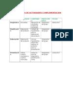 Cronograma de Actividades e Implementacion