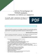 Modelo Informe psicopedagógico TDAH-inatento, confundido con maltrato por negligencia.