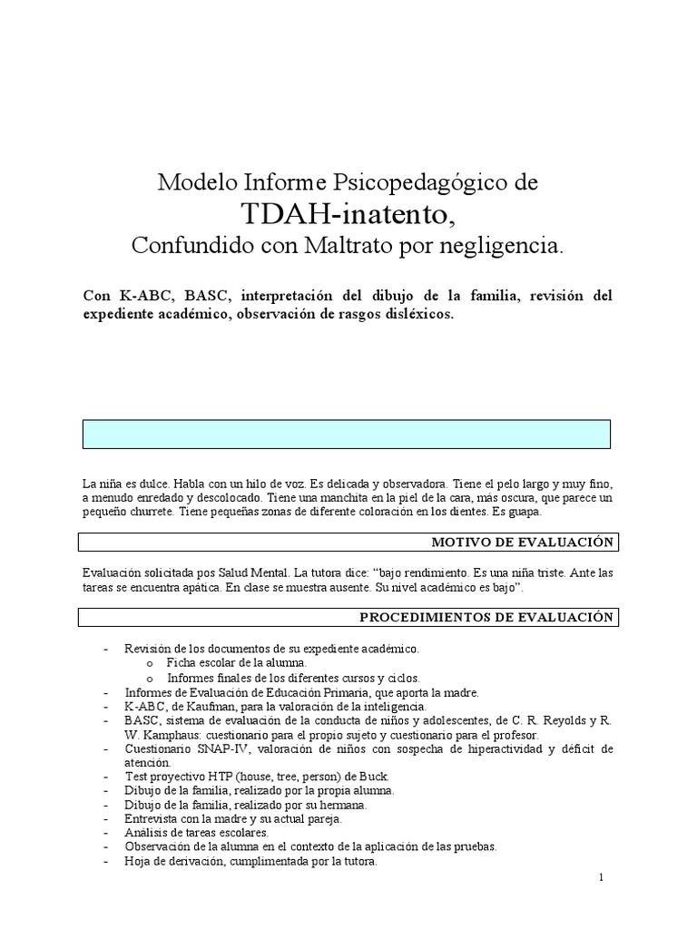 Modelo Informe psicopedagógico TDAH-inatento, confundido con ...