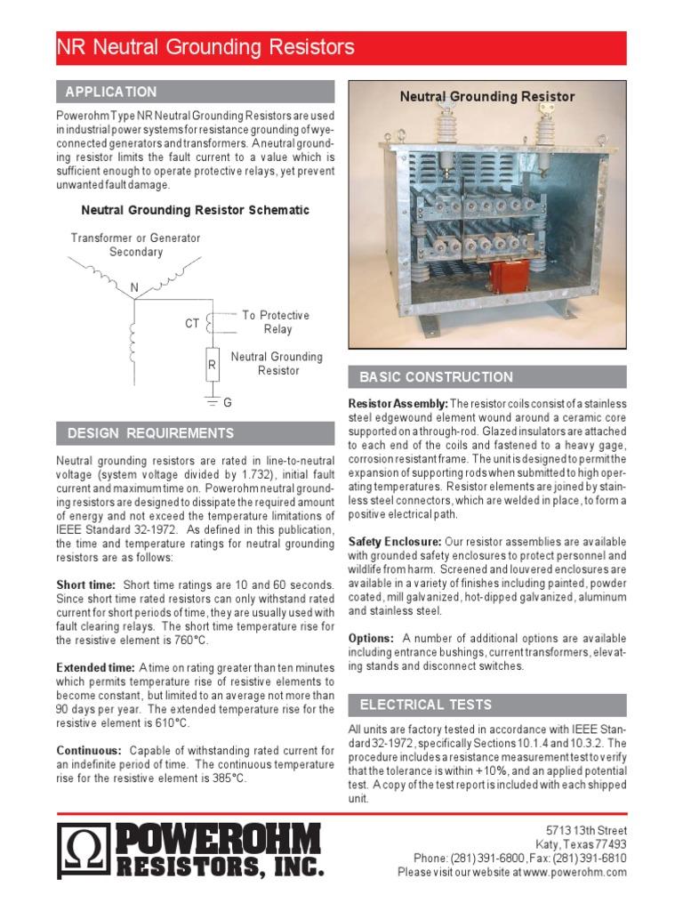 tipe ngr resistor transformer Neutral Ground Resistor Theory Neutral Ground Resistor Schematic #19