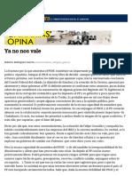 Ya No Nos Vale- Por Roberto Rodtíguez Guerra