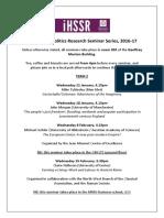 2016-17 HPP Research Seminar Series Programme Term 2