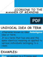 Terms Accoring to the Manner of Meaning