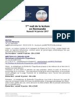 2017 - Normandie Programme Nuit de La Lecture