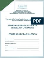 Primera Prueba de Avance de Lenguaje y Literatura - Primer Año de Bachillerato - 2015