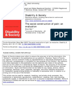 Disability & Society Volume 22 Issue 2 2007 [Doi 10.1080%2F09687590601141592] Best, Shaun -- The Social Construction of Pain- An Evaluation