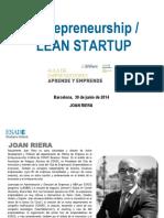 Fundación PREVENT Entrepreneurship LEAN STARTUP Joan Riera ESADE