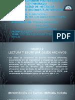 Lectura y Escritura Desde Archivos en Matlab