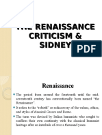 Literary Criticism Lecture Six Renaissance and Sidney