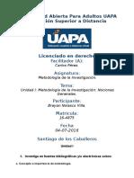 Tarea 1 Unidad I Metodología de Investigacion (UAPA) 04-07-2016