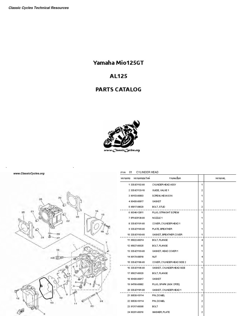 Yamaha Al125 Mio 125 Gt Illustrated Parts List Diagram Manual