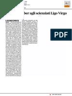 Premio Gruber agli scienziati Ligo-Virgo - Il Corriere Adriatico dell'11 gennaio 2017