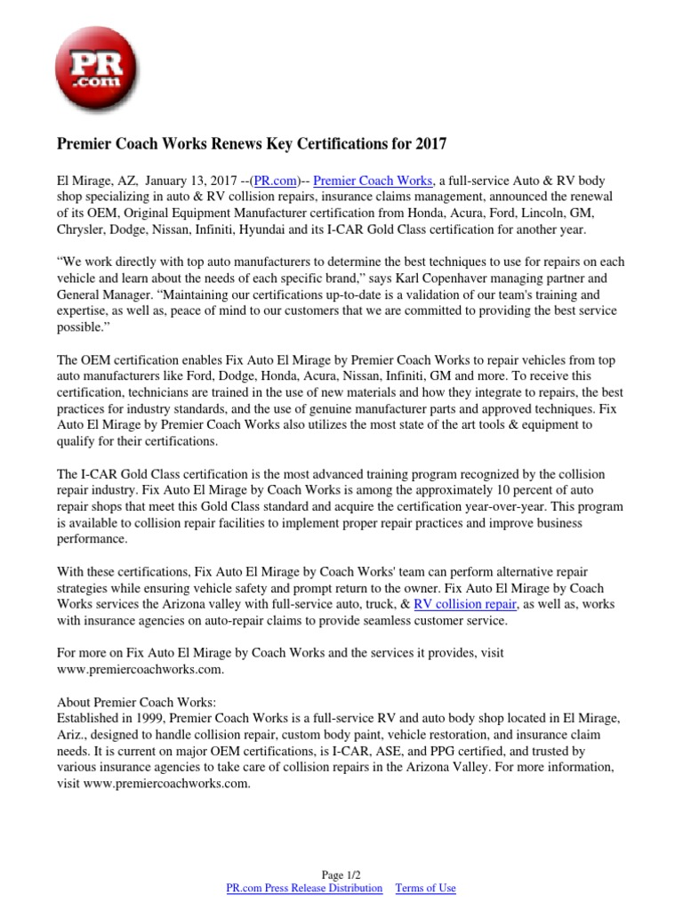 Premier Coach Works Renews Key Certifications For 2017 Dodge