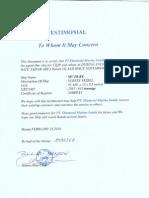 Testimonial Mv. Duke-gc Riber Shipping As
