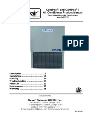 Air Conditioner Product Manual | Duct (Flow) | Thermostat