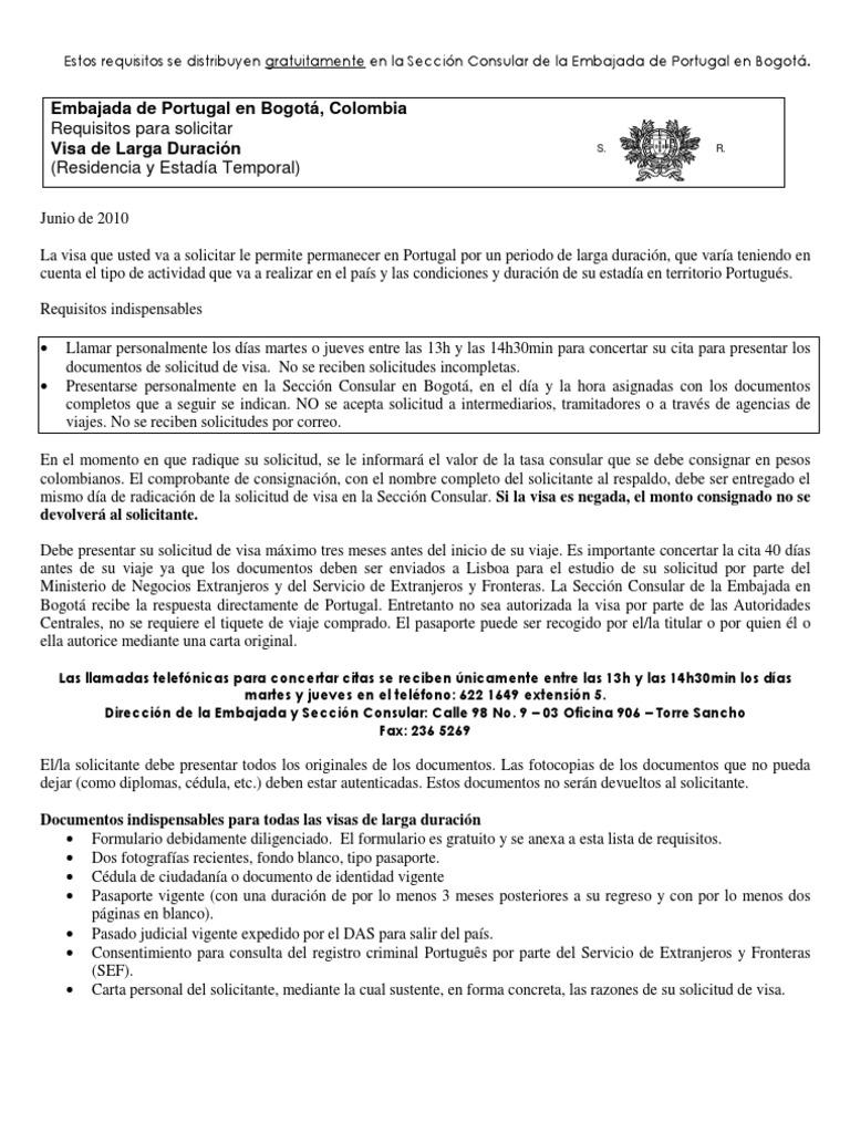 Requisitos Visa Larga Duración Portugal