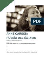 ANNE CARSON- POESÍA DEL ÉXTASIS