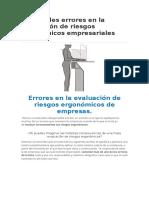 16 Grandes Errores en La Evaluación de Riesgos Ergonómicos Empresariales