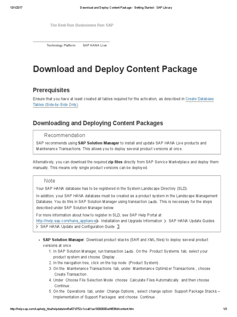 Download and Deploy Content Package - Getting Started - SAP