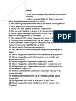 Inaugural Trivia Questions