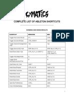 Cymatics - Ableton Shortcuts PDF