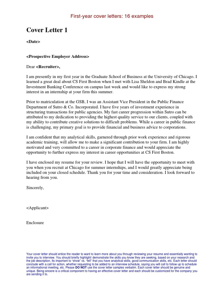 Internship Cover Letters Examples – My First Cover Letter