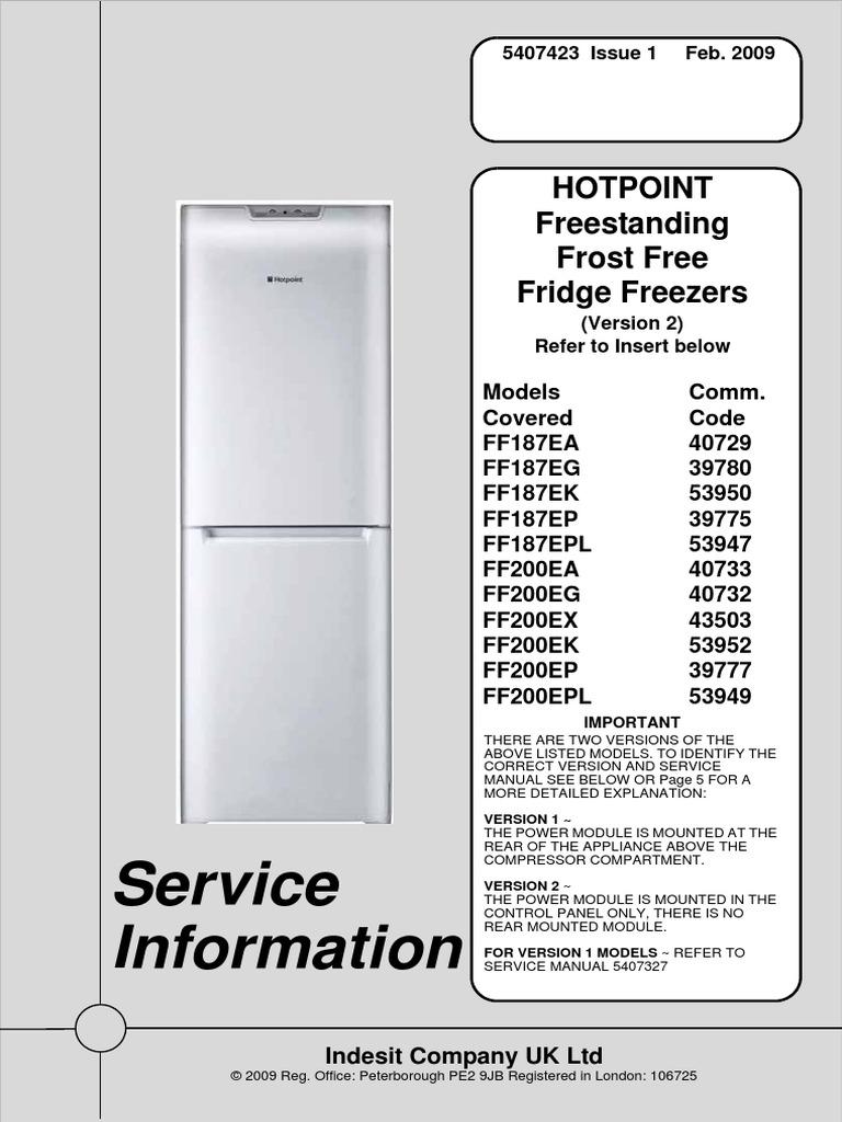 Ff200pdf Refrigerator Smart Card Hotpoint Compressor Wiring Diagram