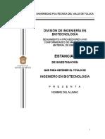 (ESTADIA) Lineamientos Para Trabajo de Estadias 2014 UPVT FF