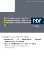 Health Promotion- Role of NGOs INGOs in HPE
