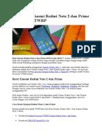 Cara Root Xiaomi Redmi Note 2 Dan Prime Serta Install TWRP