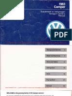 1983 Westfalia Vanagon Camper ManualWM