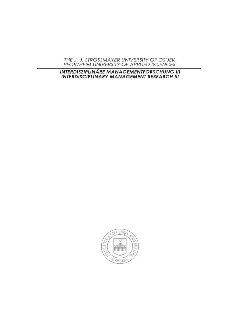 Interdisciplinary Management Research   IMR III   Employment ...