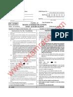 CBSE UGC NET Mass Communication Paper 2 December 2008