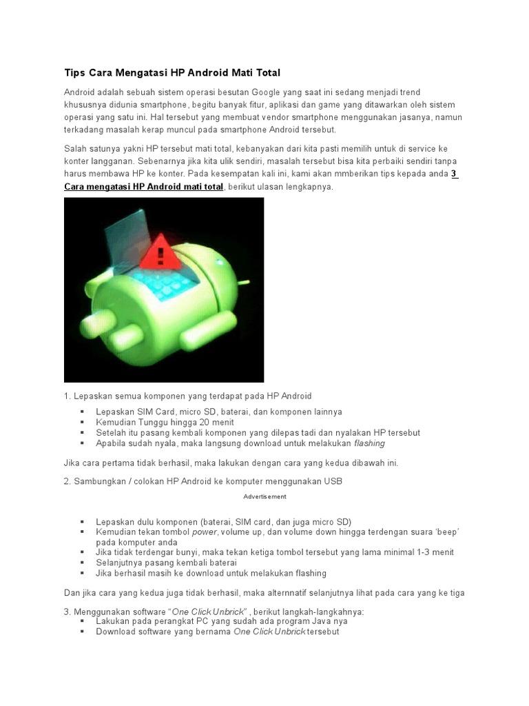 Tips Cara Mengatasi Hp Android Mati Total