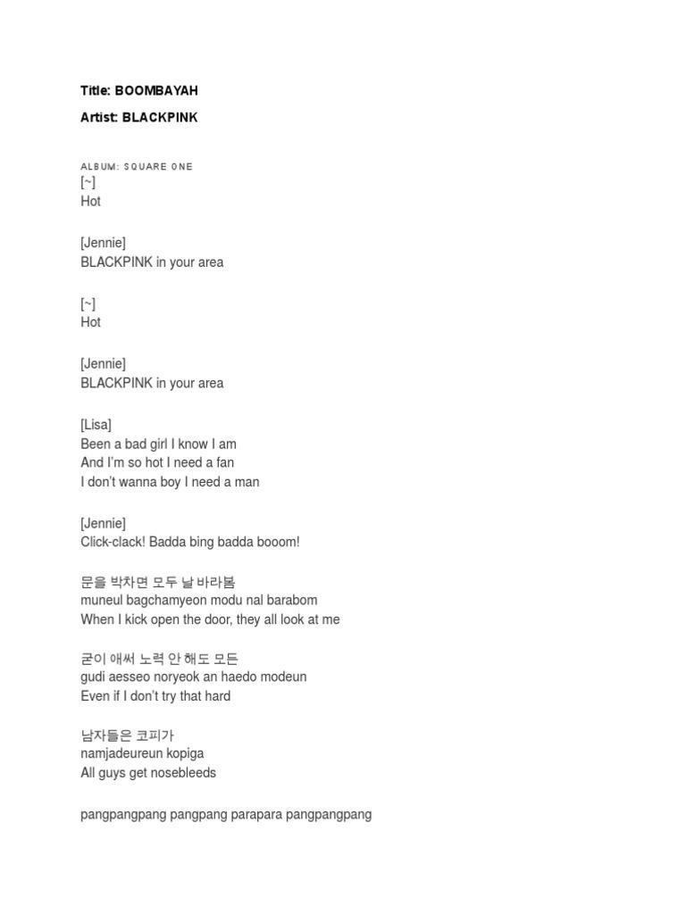 Boombayah Lyrics | Recorded Music | Music Media