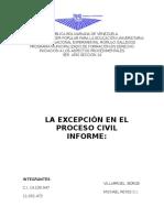La Excepcion en El Proceso Civil