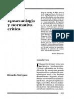 Epistemologia y Normativa Critica