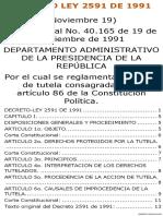 DECRETO LEY 2591 de 1991 Por El Cual Se Reglamenta La Acción de Tutela Consagrada en El Artículo 86 de La Constitución Política[1]