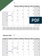 2017 Monthly Calendar 12 Months Bottom