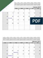 2017 Monthly Calendar 12 Months Top