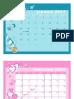 2017 Monthly Calendar 17l